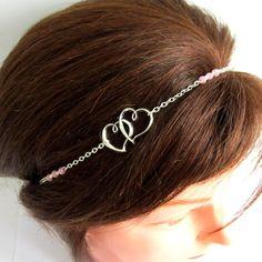 Headband argenté et rose pâle, coeurs, coiffure mariage, collier, bijou de tête : Accessoires coiffure par color-life-bijoux