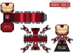 Blog Pape Toy papertoys IronMan3 Gus Santome Mark35 template preview Iron Man 3 Mark 1,2,3,4,5,6,7,17,35,38
