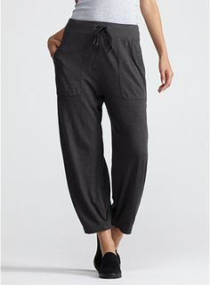slouchy cropped pant in organic cotton hemp twist, eileen fisher