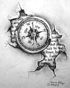 Best Compass Tattoo Design Ideas, Compass Tattoo 3D Design