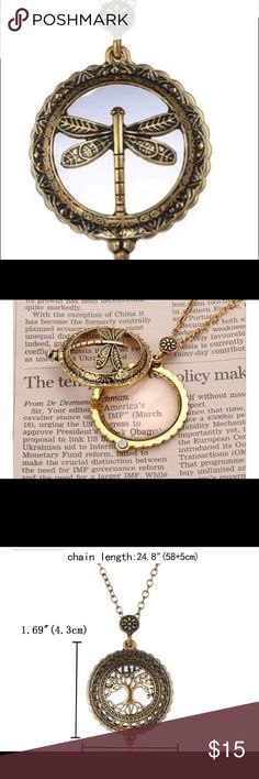 """Vintage Style Magnifying Glass Necklace (firefly) """"NEW COMES IN A BOX HOLDER"""". Vintage Style Magnifying Glass Necklaces Pendant Unisex Fashion Jewelry Firefly pendant/Necklace  Specifics Chain TypeLink Chain Metals TypeZinc Alloy See pictures for pendant size and chains length. Jewelry Necklaces"""