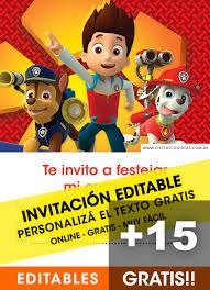 Fiestas con ideas - Buscador de ideas para festejar fiestas infantiles Editable Birthday Cards, Free Birthday Invitation Templates, Personalized Birthday Cards, Personalized Invitations, Paw Patrol Birthday Card, Paw Patrol Birthday Invitations, Paw Patrol Party, Online Invitations, Online Gratis