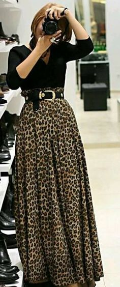 d303adabdafb Women brown leopard animal print fold over wide waistband long maxi skirt  usa Supernatural Style