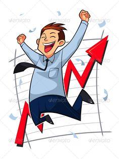 Happy Businessman ...  businessman, cartoon, character, entrepreneur, excellent service, good job, happy, hard work, high jump, illustration, jumping, laughing, leadership, man, market graph, market growth, marketing plan, raise, salary, smart work, success, successful man, symbol, vector, worker