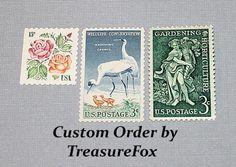 Reserved Custom Order for montyshepard .. Unused Vintage US Postage Stamps by TreasureFox on Etsy