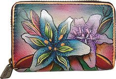 671cd3445 Womens ANNA by Anuschka Leather Credit Card Organizer/Wallet 1713 - Animal  Butterfly Tangerine -