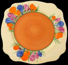 Clarice Cliff Leda Shaped Plate - Autumn Crocus Pattern - Introduced 1928 - 170mm wide