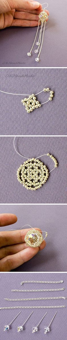 Bead weaving earrings. Click on image to see step-by-step tutorial