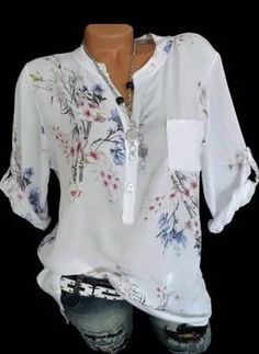 Floral V Neck Sleeves Button Up Casual Elegant Blouses - Blouses - veryvoga Cheap Womens Tops, Short Sleeve Blouse, Long Sleeve, Blouse Styles, Printed Blouse, Types Of Sleeves, Blouses For Women, Clothes, Fashion Blouses