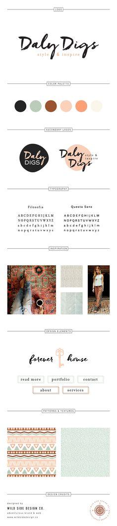 Brand Launch :: Brand Style Board :: Boho Chic Home Improvement Blog Branding :: Daly Digs Design :: #brandboard by Wild Side Design Co. - www.wildsidedesign.co