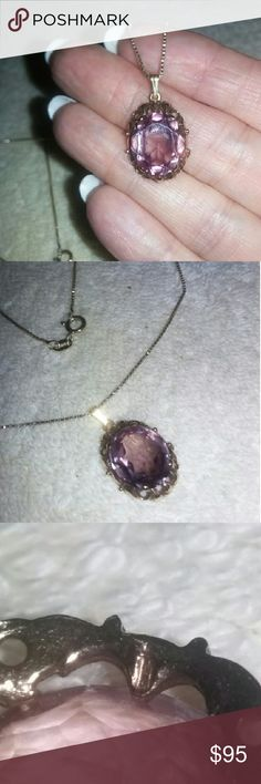 "ANTIQUE 9K .375 ALEXANDRITE NECKLACE This is a stone that changes from purple to garish blue in different lighting considered a   manmade Alexandrite the natural ones out price diamonds. It is on a new box chain 18"" gold over sterling. Jewelry Necklaces"