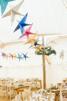 Midsummer Magic: Colourful Star Lantern & Elegant Tents Wedding: Faye & Rhys