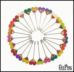 """Alfileres de novia """"Corazón Pop"""". Solicita tu catálogo con toda la info a gizpins@hotmail.com También en www.gizpins.es"""