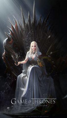 Game of Thrones: Daenerys Targaryen on the Iron Throne: Stunning Digital Painting by TaeKwon Kim Dessin Game Of Thrones, Game Of Thrones Artwork, Game Of Thrones Dragons, Game Of Thrones Fans, Game Of Thrones Tumblr, Game Of Thrones Tyrion, Daenerys Targaryen Art, Game Of Throne Daenerys, Deanerys Targaryen
