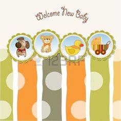 bambina con cane: New Baby scheda annuncio Vettoriali