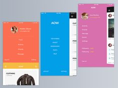 Lovely colors for 3 app menus from AOW iOS 9 Mobile UI Kit.