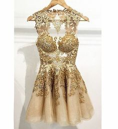 2015 Appliques Short/Mini Homecoming Dresses,Gold Party Dresses, O-Neck Homecoming Dresses, Real Made Graduation Dresses,On Sale