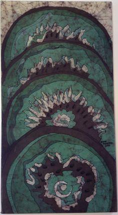 Kiwi. Fine art batik by Kevin Houchin. 26x14 in. June 2014 - Kevinhouchin.com