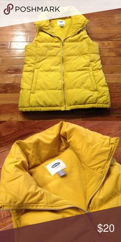LIKE NEW Size M Old Navy Puffer Vest only worn twice. this Mustard yellow vest is Quilted and very warm. Old Navy Jackets & Coats Vests