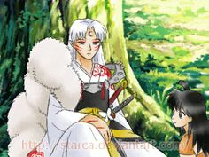Sesshomaru and Rin. Awwwwwwwwwww....so cuuuuuute!!! 8(>w<)8 tehehehehe he blushes ♥