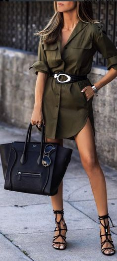 olive shirtdress - too short for wearing in public appearances, but for a casual outing - this is a great look.