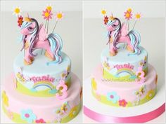 Amazing colourful rainbow unicorn cake. So much colour and creativity. Birthday cake, themed cake, multiple tier, colours, unicorns, clouds, little girls cake, my little pony, pretty, pink, blue ✨