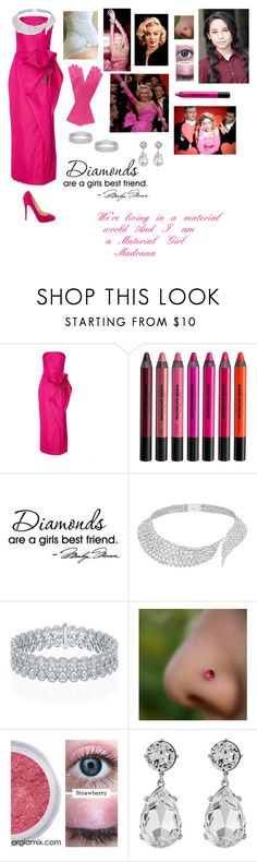 """""""Andrea Anderson-Material Girl/Diamonds are A Girl's Best Friend-Glee OC"""" by silverbellatrix ❤ liked on Polyvore featuring Marchesa, Urban Decay, WALL, Messika, Material Girl, Kenneth Jay Lane and Christian Louboutin"""