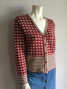Vintage Women's 80's Tan Cardigan Sweater, Long Sleeve by White Stag (M) by Freshandswanky on Etsy