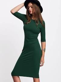 MakeMeChic Green Half Sleeve Casual Midi Dress(L)