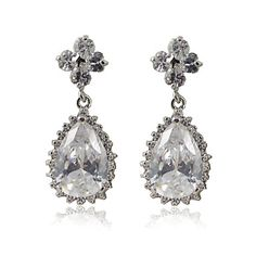 Lovely Platinum Plated Cubic Zirconia Earrings – USD $ 24.99