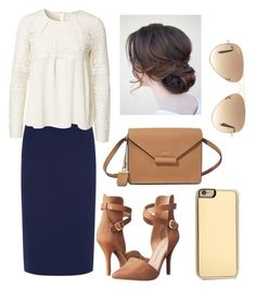 """""""Elizabeth"""" by kaity-pelletier ❤ liked on Polyvore featuring Chinese Laundry, Jaeger, DKNY, Zero Gravity, Ray-Ban, Modest, apostolic and goldnavycream"""