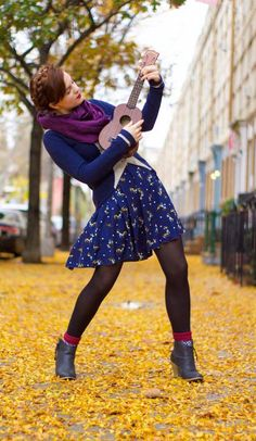 Rockin' out in style. #printswithanimals #tights #booties #layers #fall