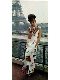 vintage fashion 1963 | 1963 dior floral appliques terrace gown