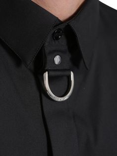 - CLASSIC COLLAR WITH METAL BUCKLE DETAIL- LONG SLEEVE- MOTHER-OF-PEARL BUTTON ON CUFFS- FRONT HIDDEN MOTHER-OF-PEARL BUTTON CLOSURE- DIOR HOMME SIGNATURE: 'CUT'…