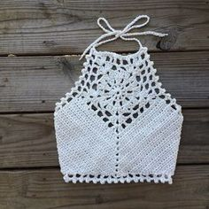 Crochet Halter Top crop bralette swim More