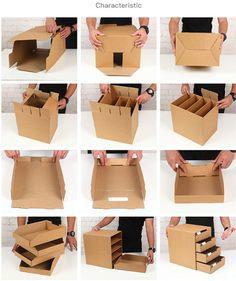 Caja de almacenamiento de cajón multicapa de escritorio creativa multifuncional papel Kraft DIY archivo Sundry organizador de joyas y cosméticos    - AliExpress Diy Storage Boxes, Desk Organization Diy, Drawer Storage, Storage Cabinets, Diy Desk, Diy Cardboard Furniture, Cardboard Box Crafts, Cardboard Drawers, Diy Crafts Hacks