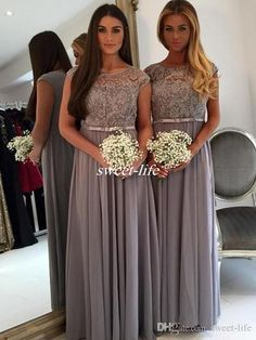 Floor Length Lace Appliques Grey Long Chiffon Bridesmaids Dresses 2017 A Line Plus Size Simple Cheap Summer Beach Party Maid of Honor Gowns Bridesmaid Dresses Vintage Mother of the Bride Dresses Online with 98.0/Piece on Sweet-life's Store | DHgate.com