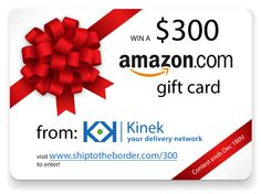 Amazon.com gift card from Kinek.com  I've used the Kinek in Blaine Washinton... SO easy AND painless to use.