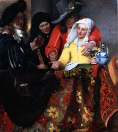 Johannes Vermeer, La alcahueta,  1656. Óleo sobre tela. 143 x 130 cm. Gemäldegalerie. Dresde. Alemania. Se cree que Vermeer se autorretrató en la escena, sería el de la izquierda.