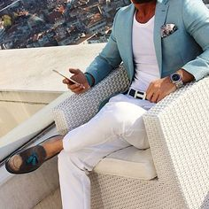 Men's Fashion | Menswear | White Pants/Trouser, White T-Shirt, Aqua Sport Coat | Men's Outfit for Spring/Summer | Smart Casual | Moda Masculina | Shop at designerclothingfans.com