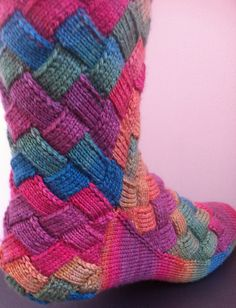 12 Entrelac knitted sock patterns