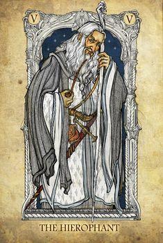 Tarot: The Hierophant by ~SceithAilm. A set of Tolkien-themed Tarot cards. Jrr Tolkien, Tolkien Quotes, The Hierophant, Art Carte, Elfa, O Hobbit, Major Arcana, Legolas, Tarot Decks