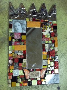 """Mosaic Mix Media Mirror by """"One of a Kind"""""""