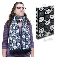 What a lovely gift this would be for a Crazy Cat Lady who occasionally catches a draft. This soft-knit acrylic scarf keeps you warm and lets the world know that you love your kitties.