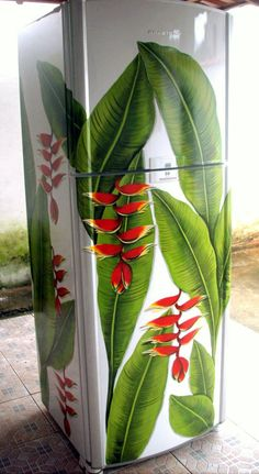 Here are 16 awesome ideas for diy Christmas decorations. Funky Painted Furniture, Recycled Furniture, Paint Furniture, Paint Refrigerator, Painted Fridge, Fridge Decor, Decoration Stickers, Deco Floral, Painted Doors