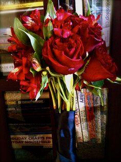 "Bridal Bouquet: Red ""Hearts"" Roses & Alstromeria"
