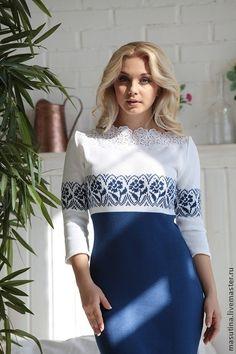 """Платье """"Небесная лилия"""" - синий,Синее платье,платье,вязаное платье,жакард"""