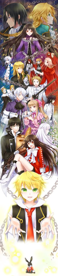 Animé pandora hearts  Personnage Oswald jake lacie écho Vincent barma Lily lottie fang jury ada reim Elliot Leo break Sharon Gilbert Alice Will of abyss Alice Oz