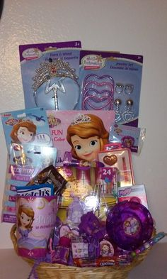 Sofia the First Easter Basket Easter Baskets For Toddlers, Kids Gift Baskets, Easter Stuff, Sofia The First, Lip Balm, Gifts For Kids, Kids Toys, Gift Wrapping, Birthday