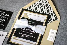 Glitter Invitations, Black and White Wedding, Gold Wedding, Modern Wedding Invitations, Classic Elegance - Flat Panel, 2 Layers